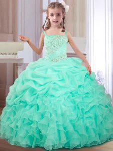 Cheap Apple Green Lace Up Straps Beading and Ruffles and Pick Ups Little Girl Pageant Gowns Organza Sleeveless