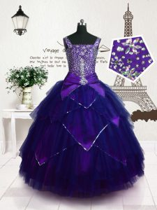 Purple Kids Pageant Dress Party and Wedding Party with Beading and Belt Straps Sleeveless Lace Up