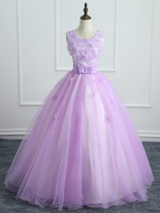 Scoop Sleeveless Organza Quinceanera Dresses Lace and Appliques and Bowknot Lace Up