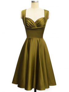 Pretty Knee Length Lace Up Vestidos de Damas Olive Green for Prom and Party and Wedding Party with Ruching