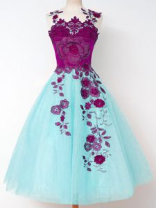 Tulle Sleeveless Knee Length Dama Dress for Quinceanera and Appliques