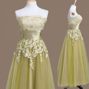 Olive Green Strapless Lace Up Appliques Quinceanera Dama Dress Sleeveless