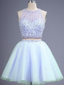 Lavender Quinceanera Dama Dress Prom and Party and Wedding Party with Beading Scoop Sleeveless Lace Up
