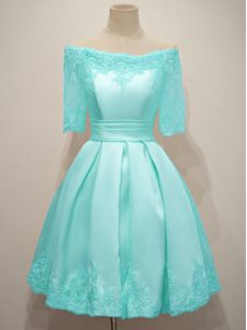 Exquisite Off The Shoulder Half Sleeves Lace Up Quinceanera Court of Honor Dress Aqua Blue Taffeta