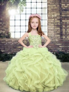 Perfect Yellow Green Tulle Lace Up Straps Sleeveless Floor Length Little Girls Pageant Gowns Beading and Ruffles