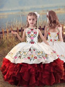 Sleeveless Embroidery and Ruffles Lace Up Little Girls Pageant Dress