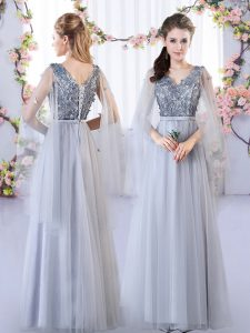 Luxury Floor Length Lace Up Court Dresses for Sweet 16 Grey for Wedding Party with Appliques