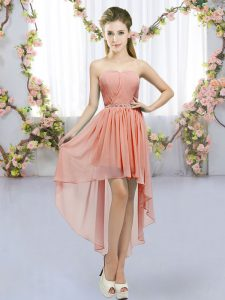 Colorful Peach Empire Sweetheart Sleeveless Chiffon High Low Lace Up Beading Dama Dress for Quinceanera