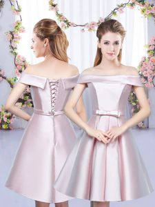 Floor Length Lace Up Damas Dress Baby Pink for Wedding Party with Bowknot