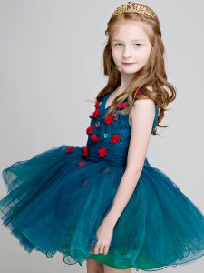 V-neck Sleeveless Zipper Child Pageant Dress Teal Organza