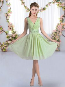 Extravagant Yellow Green Quinceanera Dama Dress Wedding Party with Beading V-neck Sleeveless Zipper
