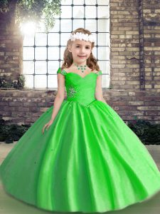 Floor Length Lace Up Pageant Gowns For Girls for Party and Wedding Party with Beading