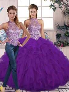 Inexpensive Tulle Sleeveless Floor Length Sweet 16 Dresses and Beading and Ruffles