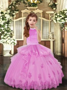 Lilac Sleeveless Beading and Appliques Floor Length Kids Formal Wear