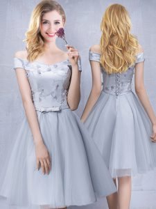 Exquisite Grey A-line Tulle Off The Shoulder Sleeveless Appliques and Belt Knee Length Lace Up Damas Dress