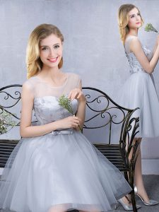 Custom Design Scoop Grey A-line Lace and Appliques and Belt Quinceanera Court Dresses Lace Up Tulle Sleeveless Knee Length