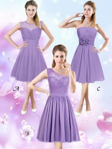 New Arrival Scoop Lavender Zipper Vestidos de Damas Lace and Ruching and Hand Made Flower Sleeveless Knee Length