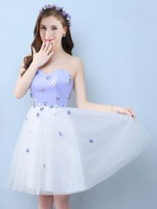 Knee Length White Quinceanera Dama Dress Tulle Sleeveless Appliques