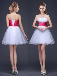 Fashionable Mini Length Lace Up Court Dresses for Sweet 16 White for Prom and Party with Beading and Ruching and Belt