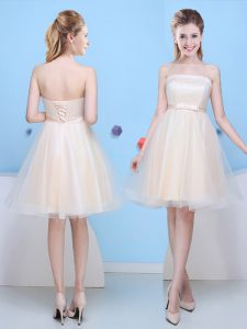 Stunning Champagne Strapless Neckline Bowknot Court Dresses for Sweet 16 Sleeveless Lace Up