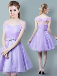 Straps Lavender Cap Sleeves Knee Length Ruching and Bowknot Zipper Vestidos de Damas