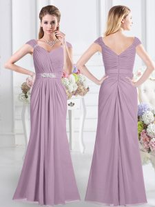 Captivating Lavender Sweetheart Zipper Beading and Ruching Vestidos de Damas Cap Sleeves