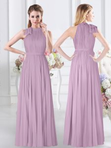 Popular Lavender Sleeveless Chiffon Zipper Dama Dress for Quinceanera for Prom and Party and Wedding Party