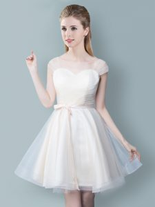 Trendy Straps Cap Sleeves Tulle Quinceanera Court Dresses Ruching and Bowknot Zipper