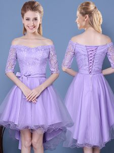 Ideal Off the Shoulder Half Sleeves High Low Lace Up Vestidos de Damas Lavender for Prom and Party and Wedding Party with Lace and Bowknot and Belt