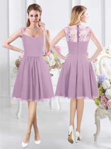 Beautiful Straps Cap Sleeves Knee Length Lace Zipper Dama Dress for Quinceanera with Lavender