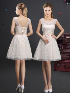 Stylish Scoop Lace Sleeveless Knee Length Court Dresses for Sweet 16 and Lace and Appliques