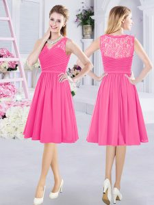 Enchanting Hot Pink Sleeveless Knee Length Lace and Ruching Side Zipper Quinceanera Court of Honor Dress
