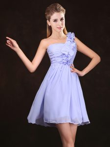 Dynamic One Shoulder Lavender Zipper Dama Dress for Quinceanera Ruffles and Ruching Sleeveless Mini Length