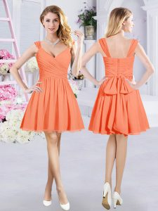 Orange A-line Straps Sleeveless Chiffon Mini Length Zipper Ruching and Belt Quinceanera Court of Honor Dress