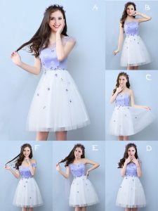 Sweet White Sleeveless Tulle Lace Up Damas Dress for Prom and Party