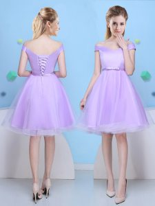 Knee Length Lavender Dama Dress Tulle Cap Sleeves Bowknot