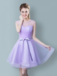 Romantic Scoop Lavender Tulle Zipper Dama Dress for Quinceanera Sleeveless Knee Length Ruching and Bowknot