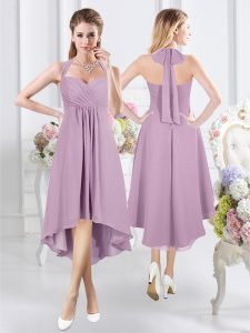 Suitable Halter Top Sleeveless Chiffon Knee Length Zipper Quinceanera Dama Dress in Lavender with Ruching