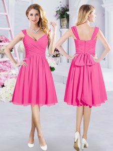 Hot Selling A-line Damas Dress Hot Pink Straps Chiffon Sleeveless Knee Length Zipper