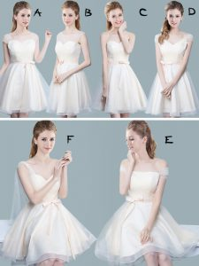 Top Selling Straps Cap Sleeves Quinceanera Court Dresses Knee Length Ruching and Bowknot Champagne Tulle