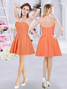 Glamorous Mini Length Orange Damas Dress Strapless Sleeveless Zipper