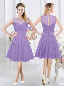 Lavender A-line Scoop Sleeveless Chiffon Knee Length Zipper Ruching Vestidos de Damas