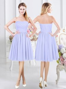 Lavender Sleeveless Chiffon Side Zipper Damas Dress for Prom and Party and Wedding Party