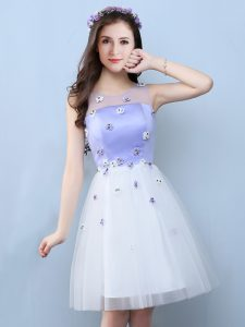 Delicate White Court Dresses for Sweet 16 Prom and Party and For with Appliques Scoop Sleeveless Lace Up