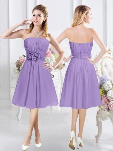Trendy Sleeveless Zipper Knee Length Ruching and Hand Made Flower Vestidos de Damas