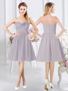 Customized Grey Sweetheart Neckline Ruching and Hand Made Flower Court Dresses for Sweet 16 Sleeveless Zipper