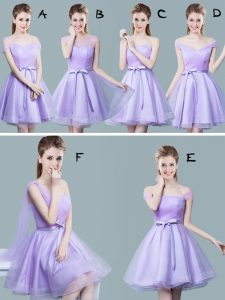 Straps Ruching and Bowknot Damas Dress Lavender Zipper Cap Sleeves Knee Length