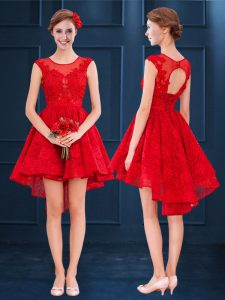 Modest High Low Red Court Dresses for Sweet 16 Scoop Sleeveless Lace Up