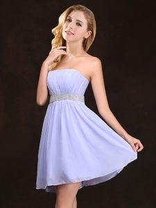 Inexpensive Lavender Quinceanera Dama Dress Chiffon Sleeveless Sequins and Ruching