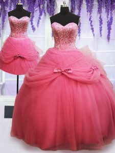 Captivating Three Piece Rose Pink Sleeveless Tulle Lace Up Quinceanera Gown for Military Ball and Sweet 16 and Quinceanera